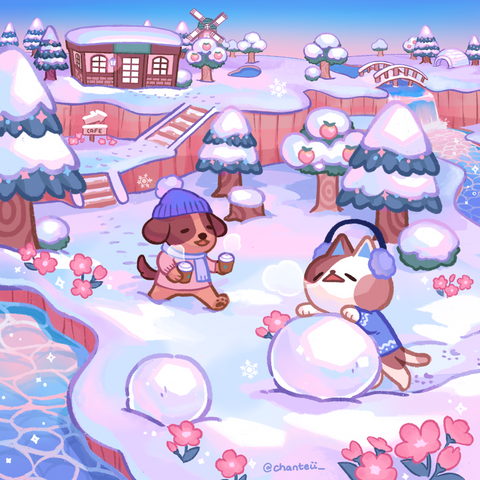 Animal Crossing Winter Snow Print