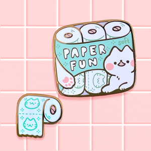 Kitten Toilet Paper Enamel Pin