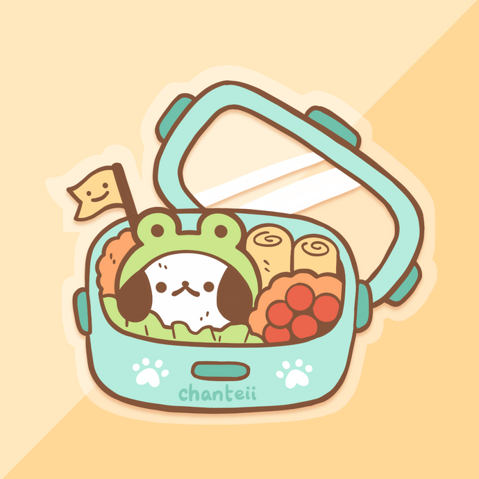 Blue Puppy Bento Clear Sticker