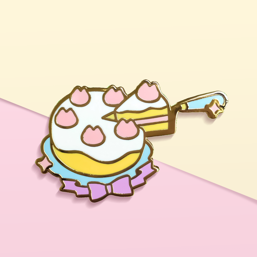 Kitten Slice of Strawberry Cake Enamel Pin