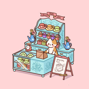 Jellies and Jam Tea Cat Print