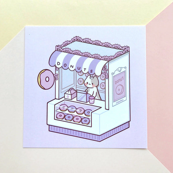 Donut Shop Cat Print