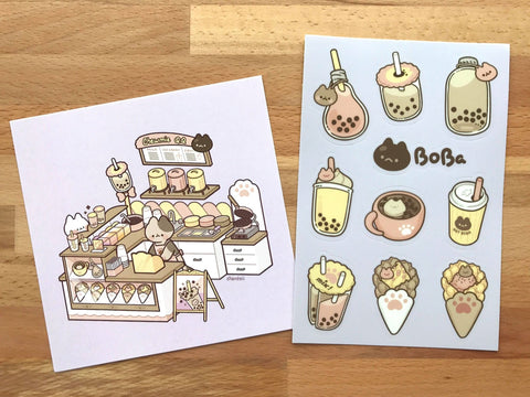 Bubble Tea Shop Print & Stickers