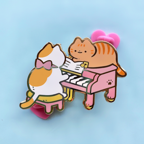 Piano Cats Enamel Pin