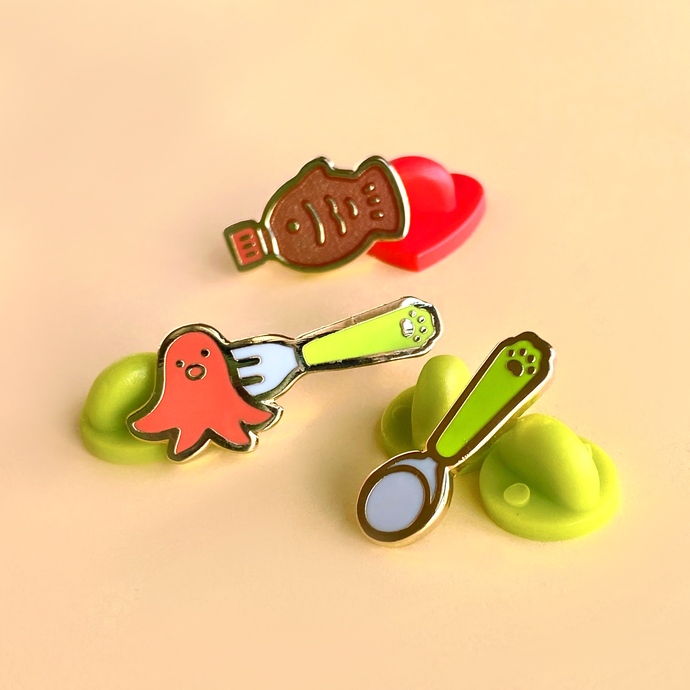 Bento Utensils Enamel Pin Set