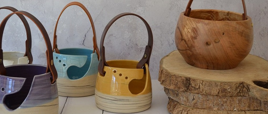 """Fabulous Yarn Bowl - ........ I absolutely love the leather handle ... The colour goes perfectly with my lounge decor... It's so stylish... its so practical, I love it""!"
