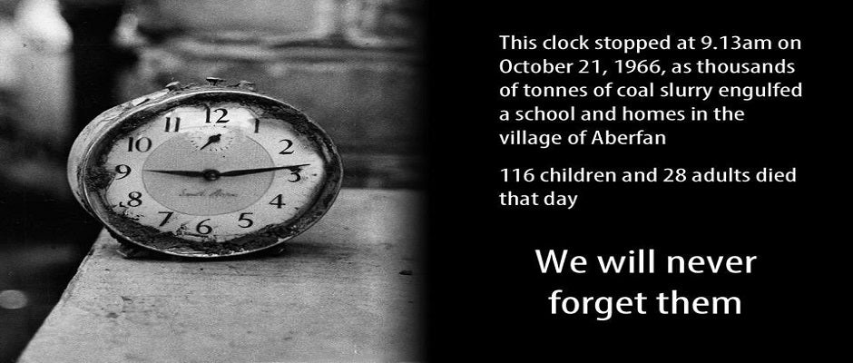 Aberfan disaster - 21 October 1966 - 09.13am - Clock showing the date and time of the Aberfan disaster