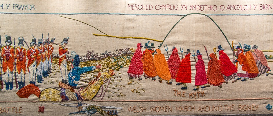 French Invasion of Britain in 1797. Commemoration tapestry celebrating 200 year old event 1797- 1997 - FelinFach