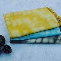 Hand dyed cotton, silk and wool scarves