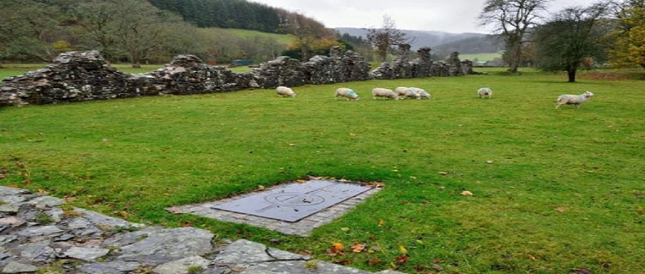 Abbey Cwm Hir - Cistercian Abbey ruins and Llywelyn's grave stone