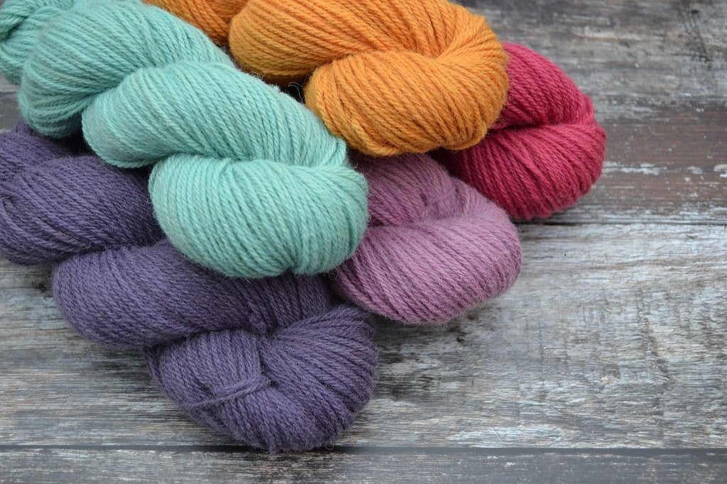 Welsh Mule Hand Dyed Yarn, with 100% natural dyes. Spun in Wales the whole process was completed by hand using traditional methods at one mill – Hand dyed at the FelinFach Studio - fleece to yarn a Welsh product.