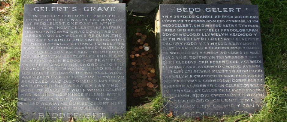 Gelert's grave inscription English and Welsh