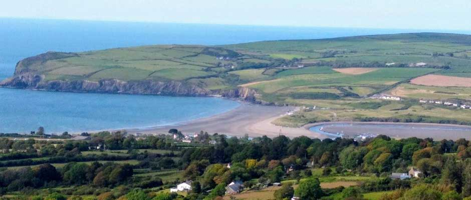 Looking down to Newport town, the beach and the river Nevern estuary from Carn Ingli, the western most hill within the Preseli Hills range