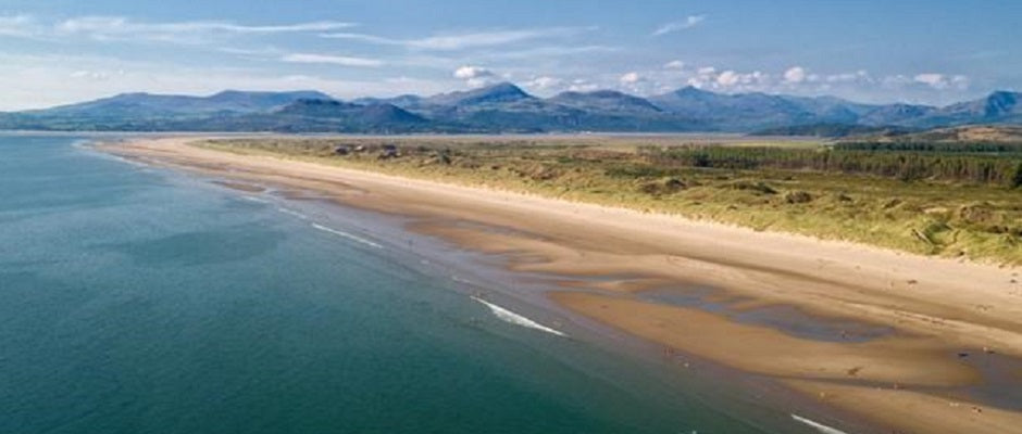 Snowdonia Beaches with mountains in the distance