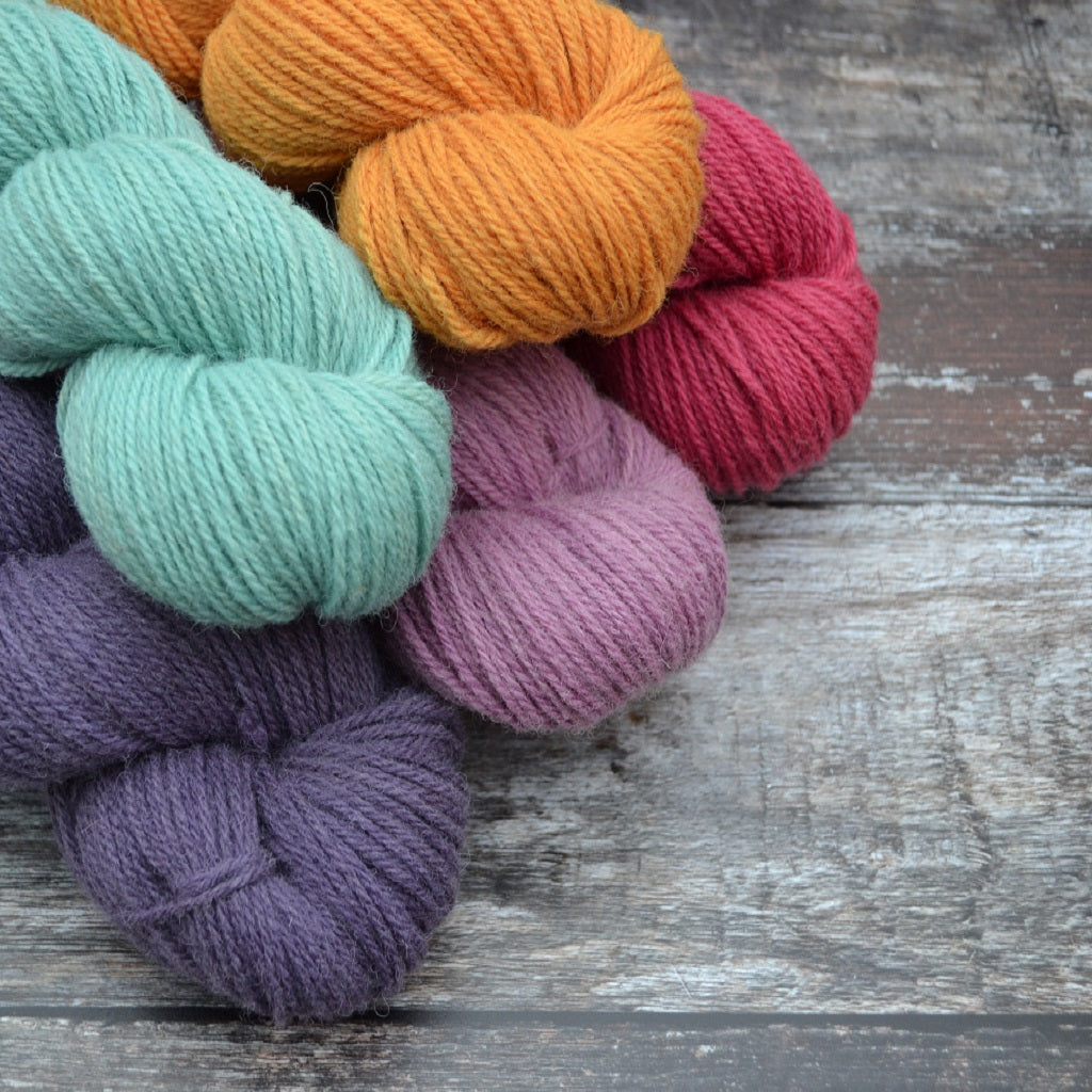 Our hand dyed yarn is produced from the finest UK yarns and natural dyes. The colours from natural dyes are enthralling, depending on where the dyestuff was grown, how it was harvested, the fibres being dyed, and the method of application we use