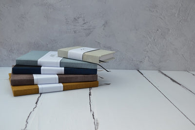 Hand bound notebooks - hand dyed linen book covers