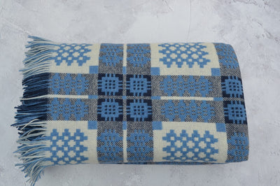 Portmerion welsh tapestry blanket cornflower blue reverse