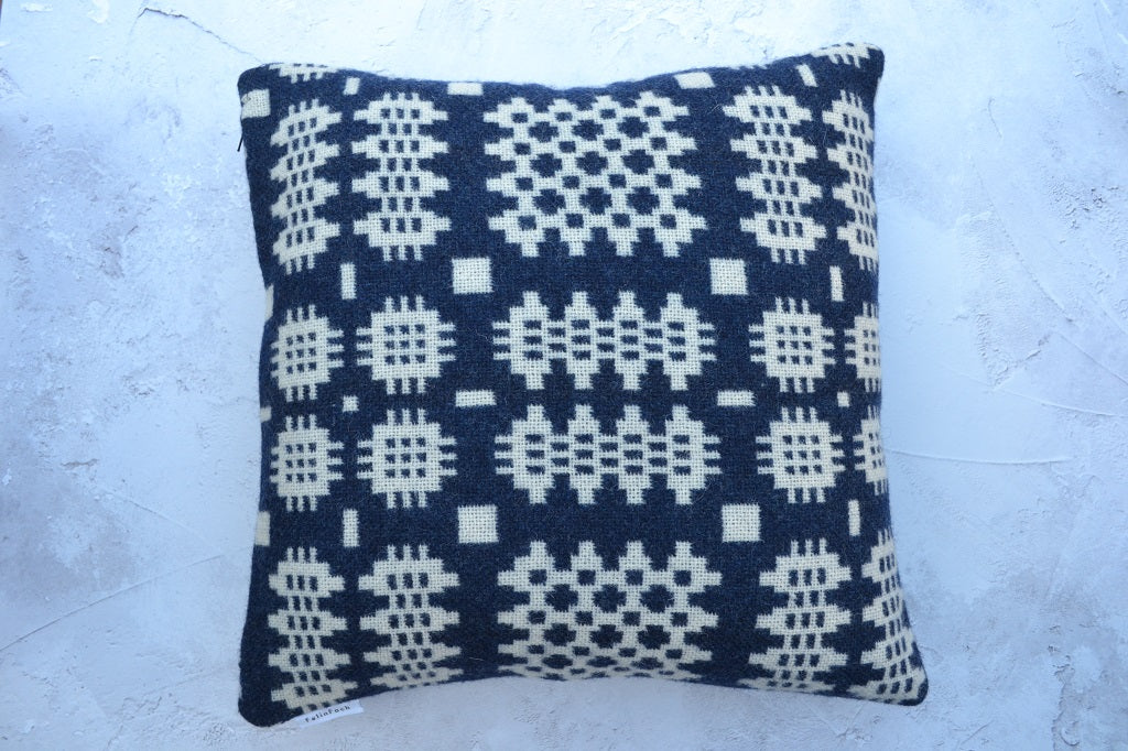 Tapestry Feather Cushion Welsh Gift Made in Wales Grey Cushion Welsh Wool Cushion Welsh Tapestry Cushion Welsh Blanket Cushion