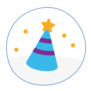 An illustration of a party hat with a golden star on the top.