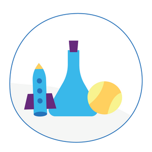 An illustration of a space ship, a beaker and a tennis ball