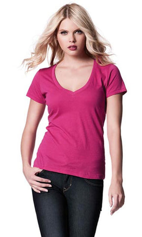 LADIES DEEP V-NECK FINE JERSEY T