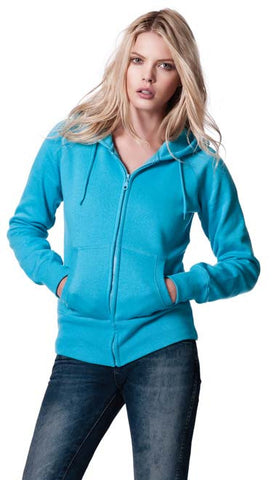 WOMENS ZIP THROUGH HOODED SWEAT