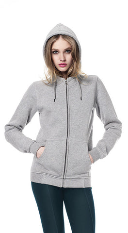 WOMENS HIGH NECK ZIP UP HOODY