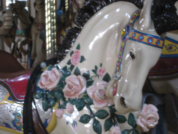 carousel horse with roses vintage