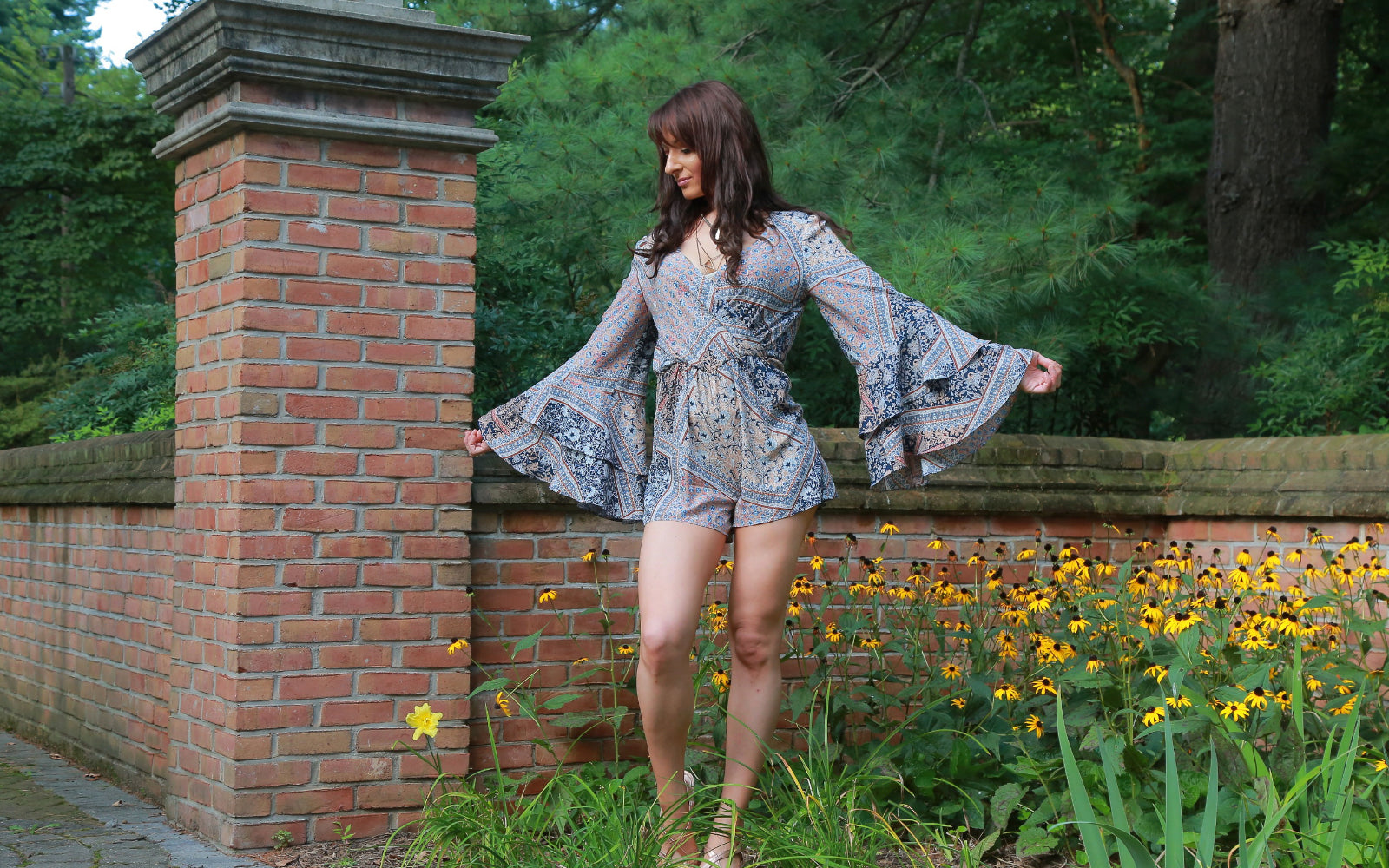 Angel sleeve paisley romper