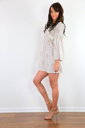 White boho dress angel sleeve hippie dress pink floral high waist  dress S Small