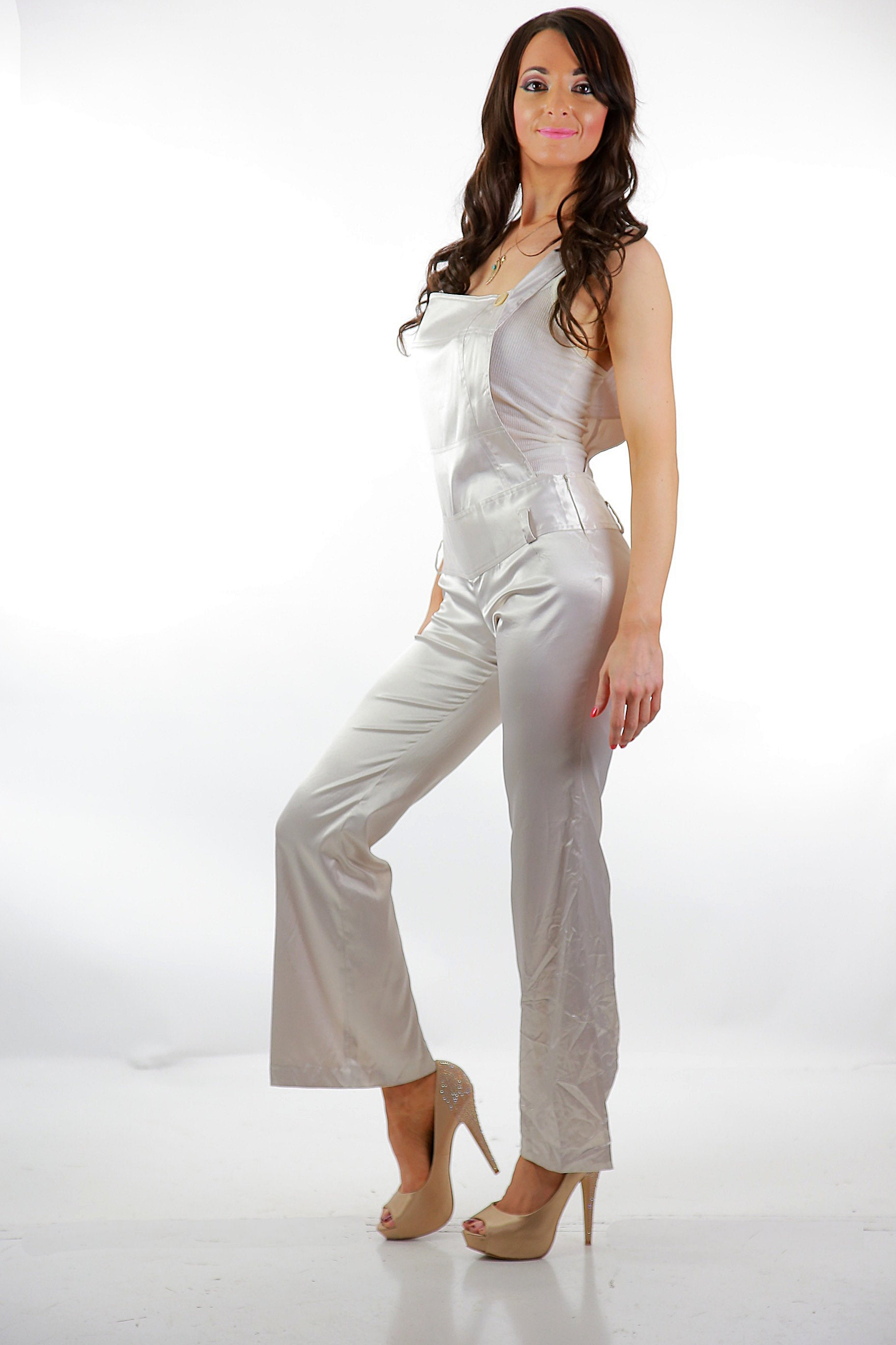 4eeede4def 90s white satin jumpsuit grunge coveralls rocker disco fitted party  cocktail S