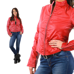 Red leather motorcycle moto jacket metal zipper vintage 80s rocker L Large