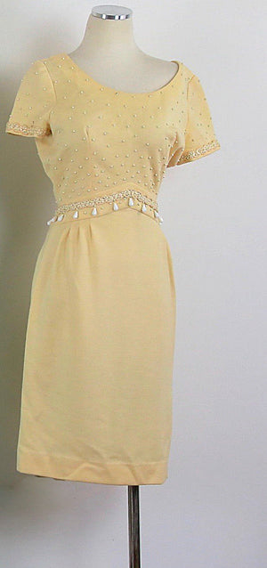 Genuine true vintage 50s 60s retro beaded wool party dress Carlye M