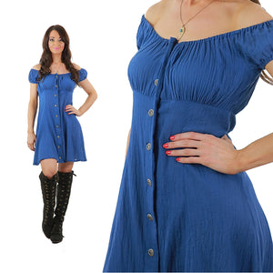 Blue Peasant Dress Button down off shoulder boho festival mini sundress M
