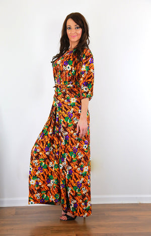 Wrap caftan dress 70s boho hippie Hawaiian dress  M