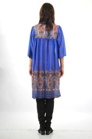 Vintage 60s 70s boho hippie blue paisley border print shift dress