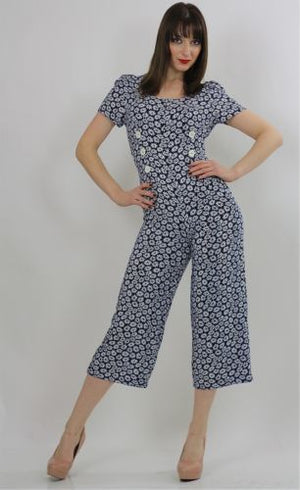 Vintage 90s Grunge Navy Blue Sunflower scoop neck Jumpsuit Romper