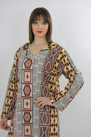 Vintage 70s Hippie Boho Tribal Ethnic India loose fit Maxi Dress Caftan