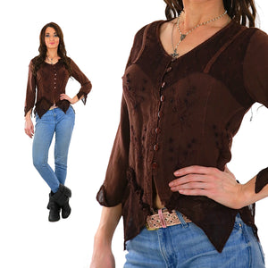 Vintage 90s grunge brown embroidered hippie boho floral crop top M