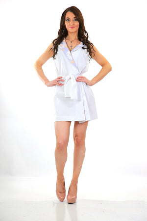 Boho white mini wrap dress color block tie belt  sleeveless M