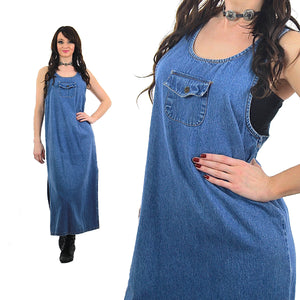 Denim Maxi Dress sleeveless coverall Vintage 1990s Grunge slouchy cotton Small