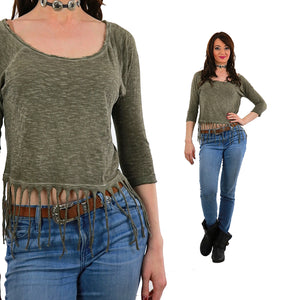 Vintage 90s grunge boho Fringed shirt green faded slouchy crop top M