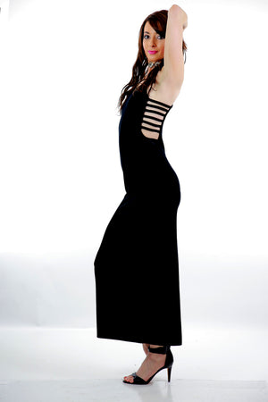 Vintage 90s grunge black velvet maxi dress high slit open back cut out