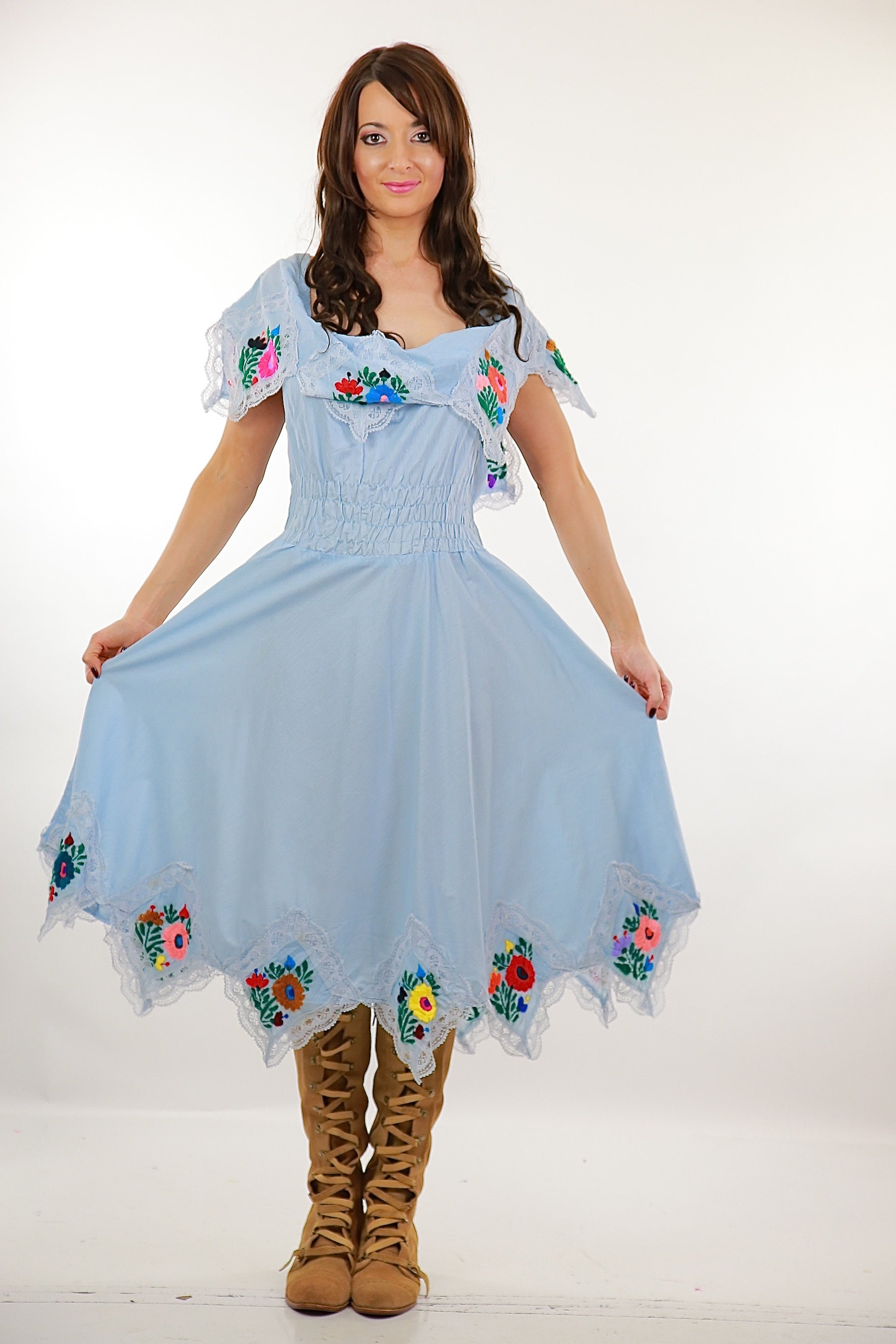 Mexican Embroidered Dress Pastel Blue Floral abstract handkerchief boho peasant