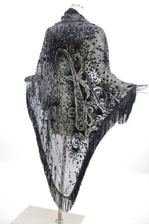 Boho Hippie black silk burnout velvet fringe shawl wrap coverup - shabbybabe  - 3