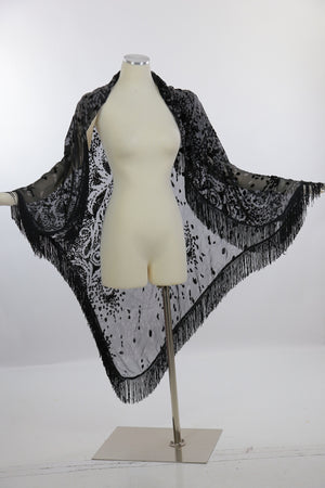 Boho Hippie black silk burnout velvet fringe shawl wrap coverup - shabbybabe  - 4