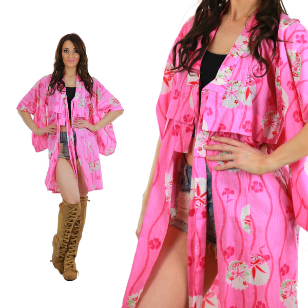 Genuine Asian kimono robe pink floral cotton hppie boho festival wrap jacket M