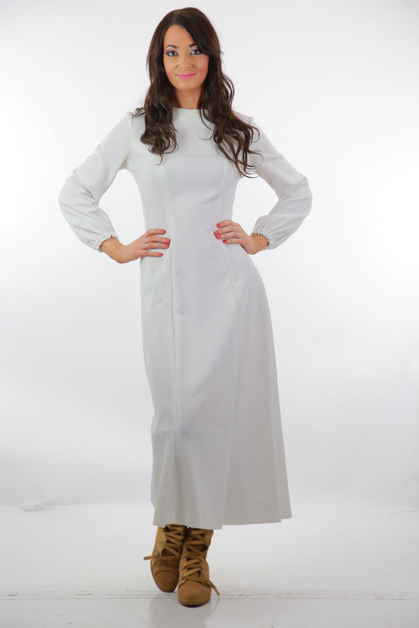 White Boho maxi dress Hippie wedding dress  long sleeve Genuine vintage