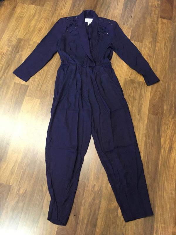 Vintage 80s 1980s boho navy blue beaded jumpsuit sleek evening party cocktail M