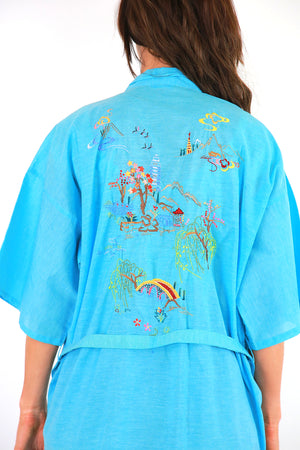 Embroidered Blue Kimono robe belted boho jacket bohemian festival coat M